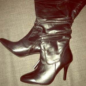 Almond Toe Leather Boots